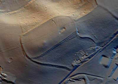 The earthworks of an early hill fort highlighted by Lidar on Otford Mount