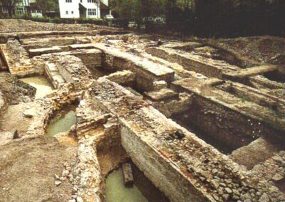 The excavated South-East tower of Otford Palace revealed in 1974.