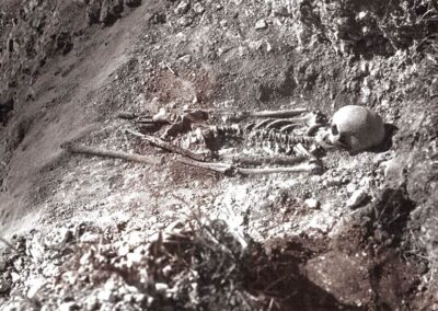 A Saxon skeleton found in a cemetery at the bottom of Polhill, just over a mile away.