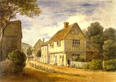 Pickmoss in the mid 1800s: watercolour by James Harding 1798-1863