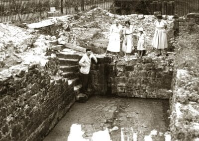 Mid-excavation to save the well in the 1950s