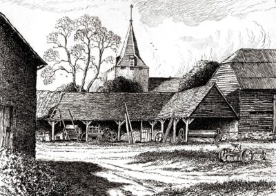 An etching from the 1940s of Castle Farm's stock-yard