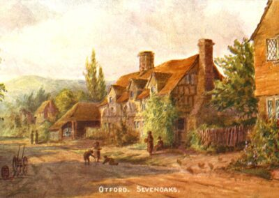 A romantic turn-of-the-century view of Forge cottages and the forge.