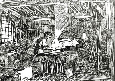 Pen-and-ink illustration of the blacksmith at work in the forge.