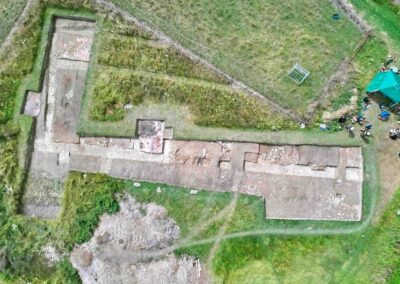 Drone photo of the excavated East Wing of Church Field Villa