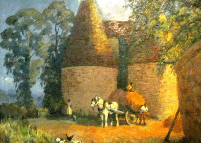 An oil painting of the Oasts at Long Lodge Farm
