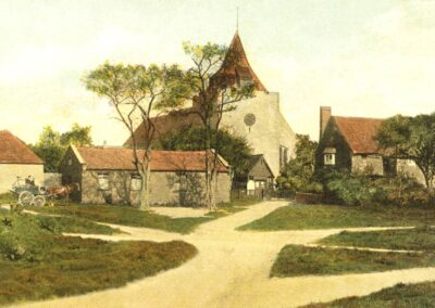 The church and Green in 1908: A franked postcard