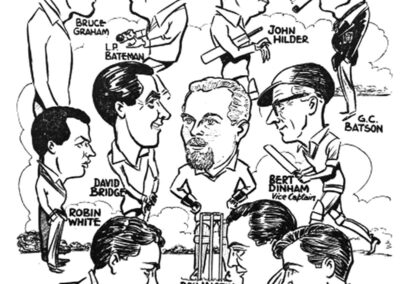 Cartoon of Otford Cricket Team members 1961