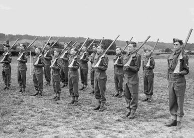 WW2 cadets training with wooden rifles