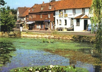 Pond, Crown Pub and High Street shops in 1976