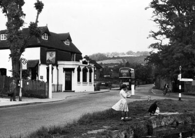 Pond and bus stop in the mid 1950s