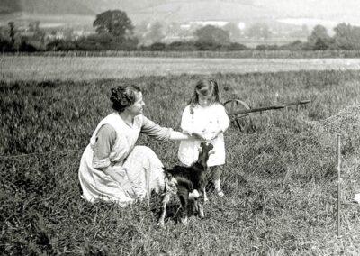 Roger's Farm, West Otford. Feeding the goat, 1919
