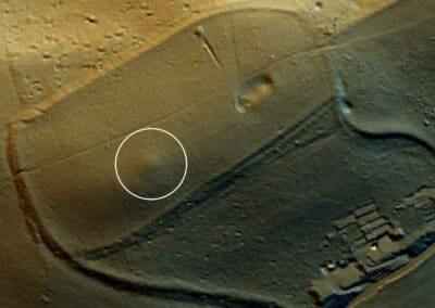 The Bowl Barrow burial mound is circled in white