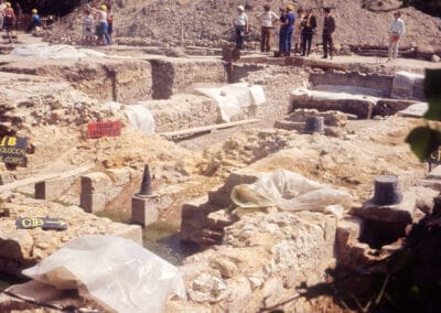 Along with much else the Tudor garderobes (toilets) were uncovered in the rescue dig of 1974.